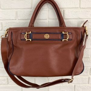 Tory Burch jaden horsebit satchel crossbody brown